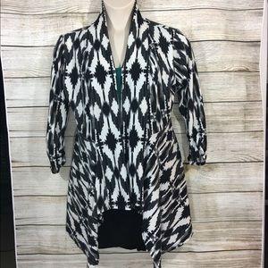Tribal Print Open sweatshirt knit cardigan Size L